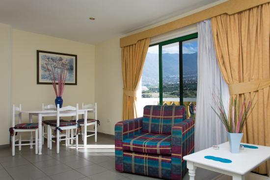 Club Tarahal: Living room with mountain views