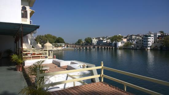 Lake Shore Hotel: the view from our breakfast table at Hotel Lake Shore, Udaipur