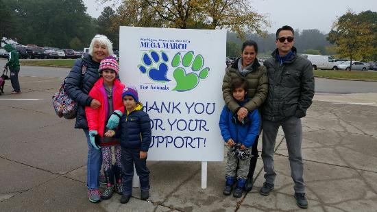 Stony Creek Metropark: Family supporting Mega March for our fury friends!