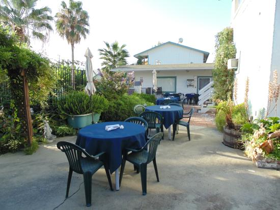 Plantation Bed & Breakfast: breakfast pool side in our beautiful courtyard
