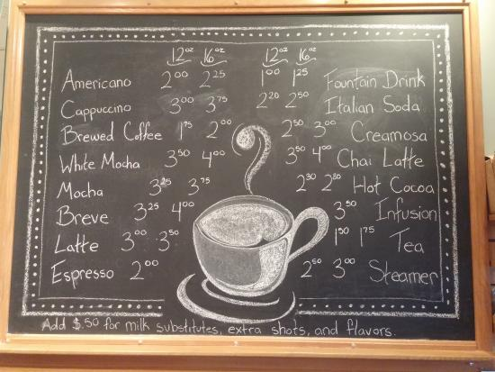 Oceanside, OR: Coffee Shop Menu