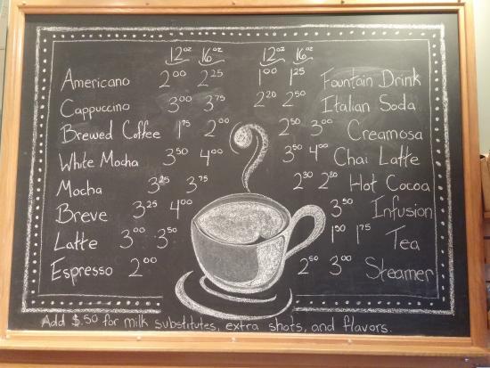 Oceanside, Όρεγκον: Coffee Shop Menu