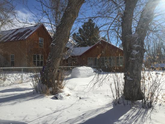 Moore, ID: Winter Retreat at old stagae coach inn back view