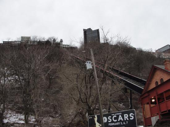 Duquesne Incline: View up the hill from the start of the incline