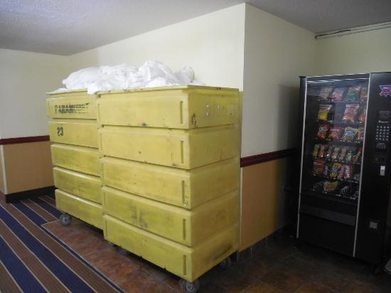 Auburn, AL: These linen bins seem to live in the hallway.  Not a very good first impression.