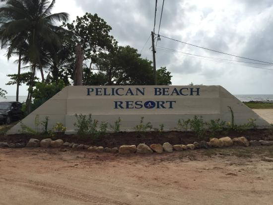 Pelican Beach - Dangriga: our entrance sign - an old shooting range..