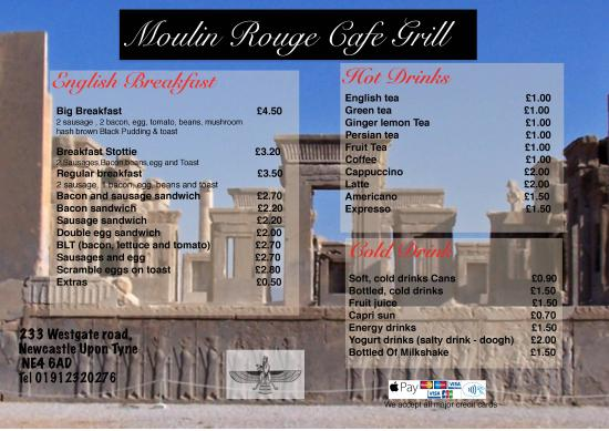 Moulin Rouge Cafe & Grill: the new menu front