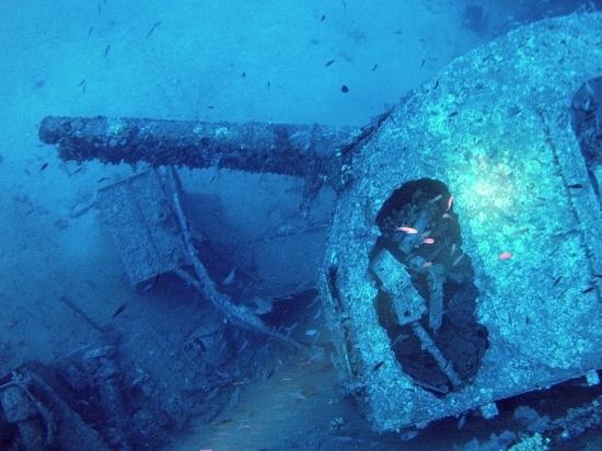 Atlantis Diving Center: The forward gun on the Southwold