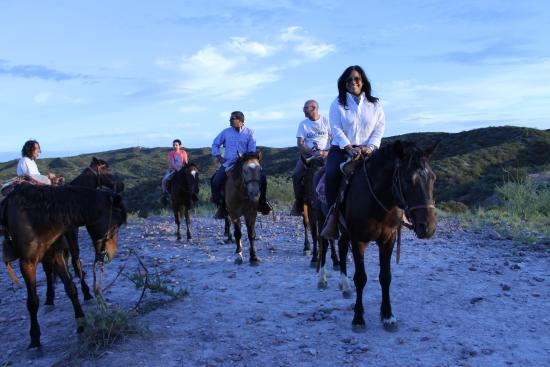 Los Pingos Horse Riding: My wife in foreground