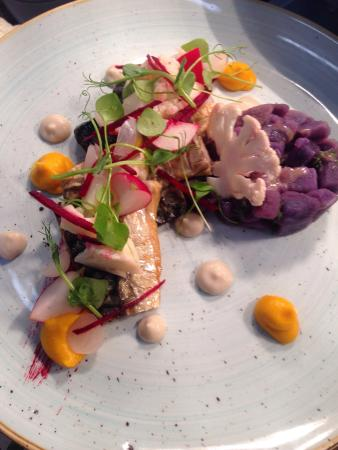 Banbridge, UK: Mackerel,pickles and blue heritage potatoes
