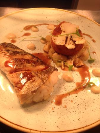 Banbridge, UK: Roast hake,salsify cod fritters red wine reduction