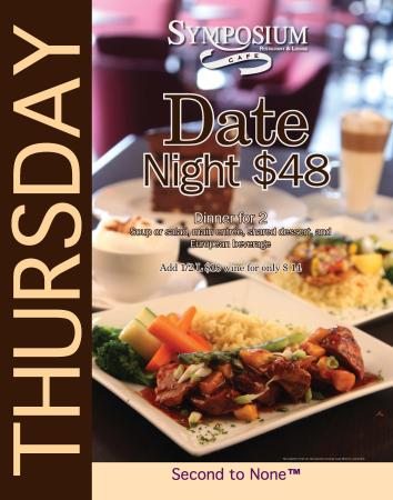 Symposium Cafe Restaurant & Lounge: Thursday specials-Date nights