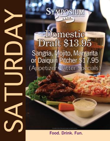 Symposium Cafe Restaurant & Lounge: Saturday specials-Appetizer platters and pitchers of margarita and mojito
