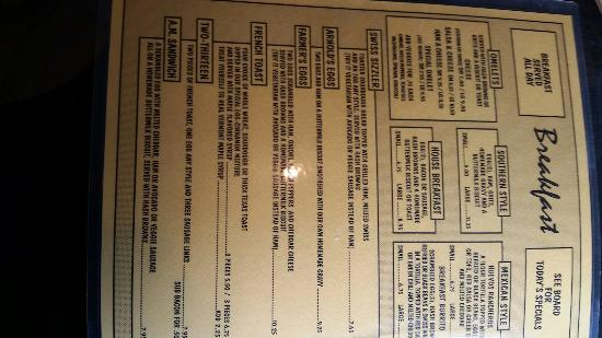 Dot's Diner on the Mountain: Menus
