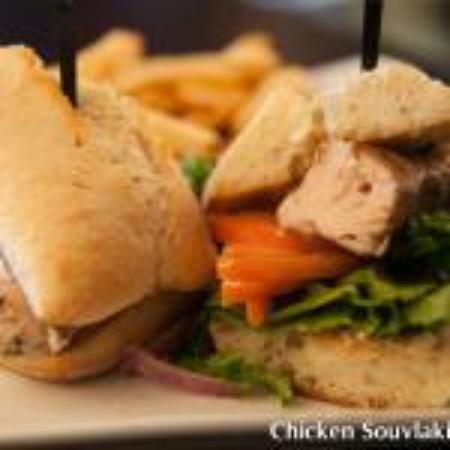 Symposium Cafe Restaurant & Lounge: Chicken souvlaki sandwich