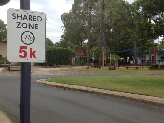 Woorim, Australia: designated share bike zone for the safety of our young guests
