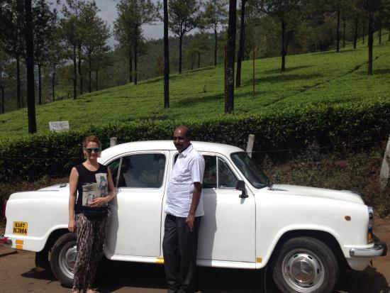 Stanley Wilson Day Tours: Ambassador & Augustin,our driver. Munnar guest house garden, lunch on the boat on backwaters.