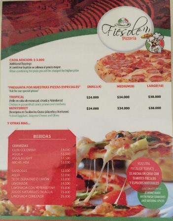 Fiesole Pizzeria: Menú de Fiesole