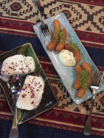 Sofra Turkish Cuisine: Dessert... Chewy ice cream and syrup dumplings... Not bad!