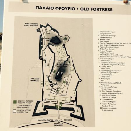 Mapa do Old Fortress Corfu