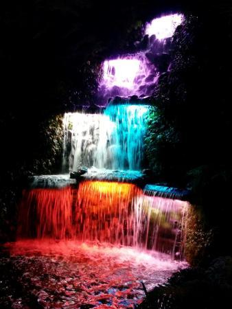 New Plymouth, New Zealand: The waterfall with a stunning light display at Pukekura Park