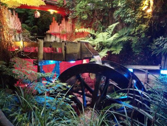 New Plymouth, New Zealand: The waterwheel lit up at Pukekura Park