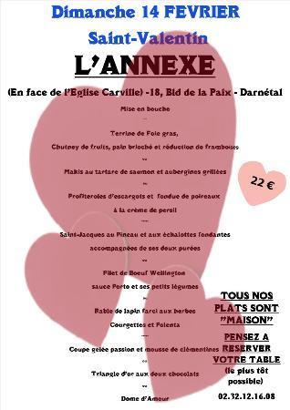 Darnétal, France : Nous voici à « J – 15 » de la Saint Valentin (14 février….)  Comme chaque année, l'Annexe sera o