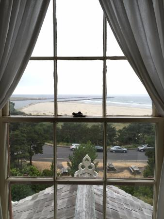 Yaquina Bay Lighthouse: view from the 2nd floor of the lighthouse
