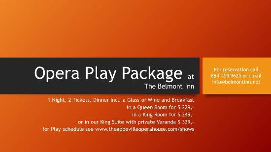 Abbeville, SC: Play packages available - receive your own Opera Glasses with each packages