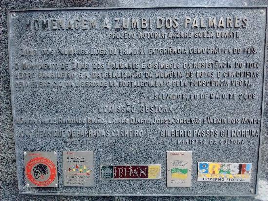 Pelourinho: Placa de homenagem a Zumbi dos Palmares