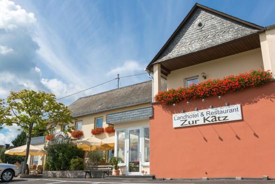 Landhotel Zur Katz: Außenansicht mit direkten Parkplätzen und Terasse direkt am Haus