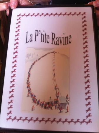 La Petite Ravine: Funny cover of the menu