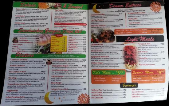 Headingley, Canadá: Lunch/dinner menu