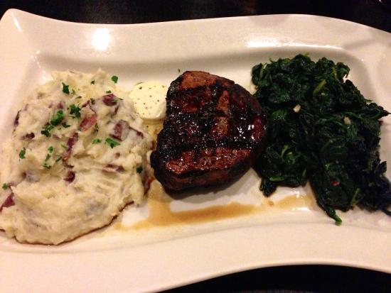 Gambrills, MD: Truffe Mignon (8 oz filet, truffle butter, roasted garlic spinach, garlic mashed poatoes)