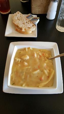Mason, TX: Blackboard specials chicken noodle soup and desserts