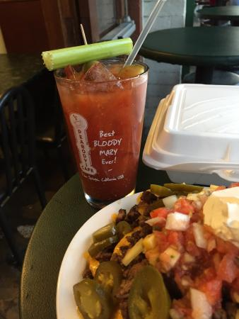 Peabody's Coffee Bar: Tasty Bloody Mary and enormous order of nachos -- all for under $20 -- and with a view of the mo