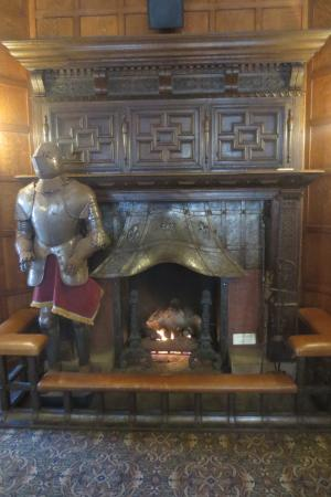 Glen Eyrie Castle: It is a real suit of armor and fireplace from Europe