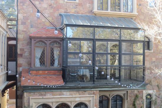 Glen Eyrie Castle: The red shingles were shipped from England, the sleeping porch was part of Majorie's room