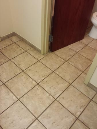 Grande Cache, Canada: textured floor dirty - only clean tiles around toilet (at least they clean there)