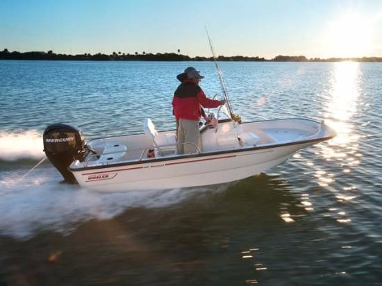 San Marina Motel: Small Boston Whaler fishing charter available near the hotel