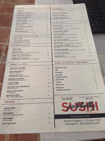 Pubbelly Sushi Miami Beach Menu