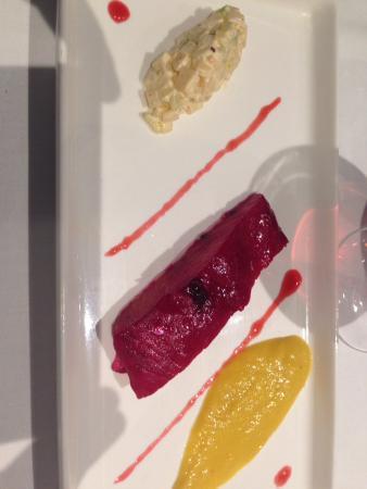 Les Pieux, Frankrike: Entrée avec ce saumon pourpre d'Inde