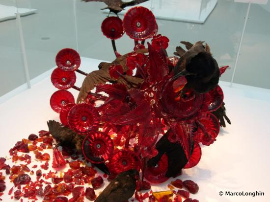 Corning, NY: Smashed chandelier (modern glass art work)