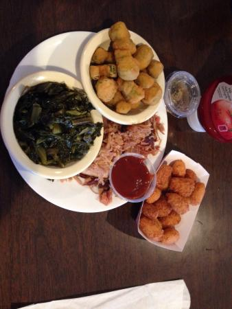 แมเรียน, นอร์ทแคโรไลนา: Small BBQ pork with collards, fried okra, & hush puppies $7.59+tax
