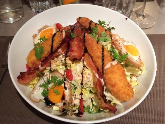 Duras, França: Salade cesar et foie gras