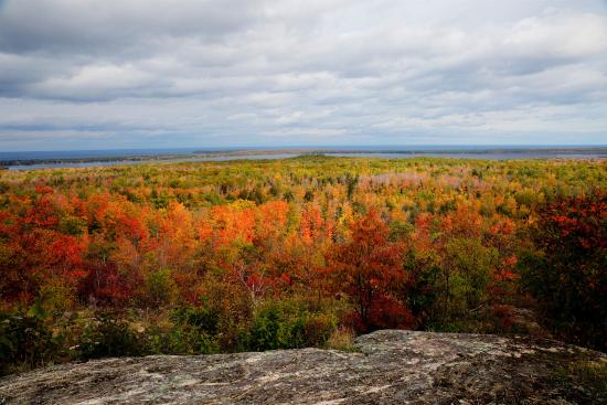This is Thomas Rock Scenic Overlook, looking towards Big Bay, Lake Superior.