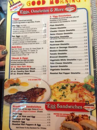 menu sample picture of 5th street diner temple tripadvisor