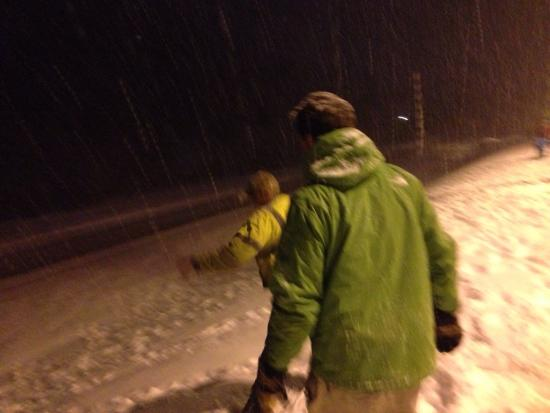 Marion, North Carolina: Sledding down the Hampton Inn's front hill in 5+ inches of snow