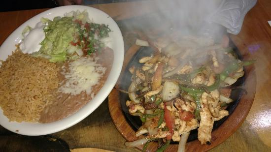 Nolensville, TN: Chicken fajitas with beans and rice