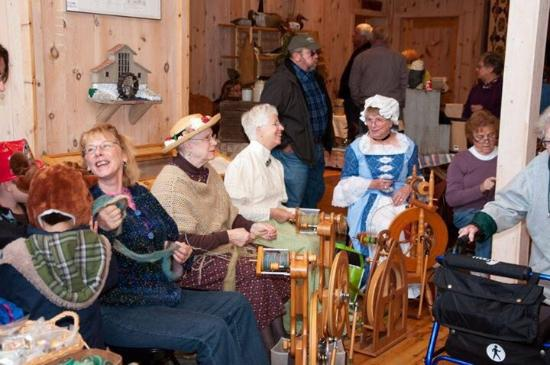 Hillman, MI: We spin wool and dress up for special occasions  going on at the mill.